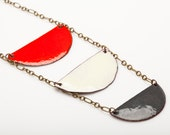 Red, White, Grey Long Enamel Necklace