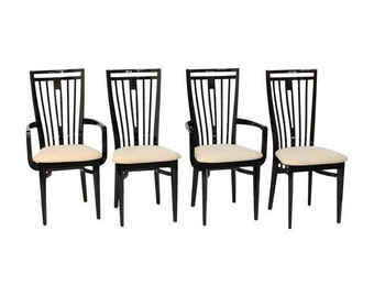 Modern Italian Black Lacquer Dining Chairs-Set of 4