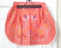Vintage Boho Embroidered Salmon Pink 1/2 Apron / Portugal Vintage Hostess Apron / Kitschy Kitchen Apron
