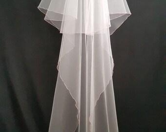 White Wedding Veil, Two Layers, Pink Edging