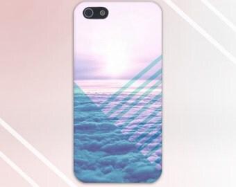 Geometric Clouds Transparent Sky Blue Case, iPhone 7, iPhone 7 Plus, Tough iPhone Case, Galaxy s8, Samsung Galaxy Case, Note 5, CASE ESCAPE