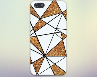 Abstract White x Gold Glitter Geometric Design Case for iPhone 6 6 Plus iPhone 7  Samsung Galaxy  & s7 and Note 5  S8 Plus Phone Case