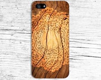 Orange Sunburnt Mandala x Dark Wood Design Case for iPhone 6 6 Plus iPhone 7  Samsung Galaxy s8 edge s6 and Note 5  S8 Plus Phone Case
