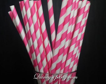 Stripe Paper Straws - Hot Pink