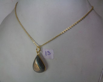 Sale - Natural Labradorite Gold Pendant with Chain,33.ct. Pear Shaped Necklace