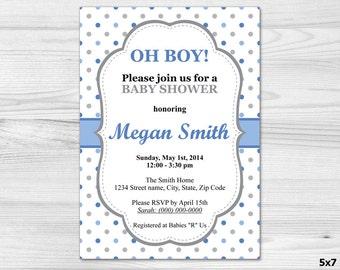 Oh Boy Baby Shower Invitation - DIY Printable Custom Invitation: baby boy, blue, polka dot, grey, white