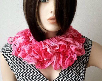 Handmade knitted shawl Elegant Scarf Dark and light pink shawl Frilly Scarflette Neck Tissue Rag Women accessories Gift Ideas for her