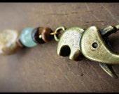 Wood, Jasper and Aventurine Beaded Elephant Clasp Bracelet