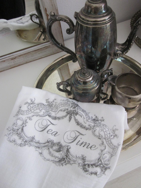 Tea Time Flour Sack Kitchen Towel Tea Towel Kitchen Decor Free