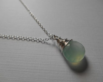 Seafoam Chalcedony Necklace - Seafoam Green Chalcedony Wire Wrapped Briolette Sterling Silver Necklace