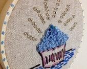 Cute Embroidered Cupcake Hoop Art