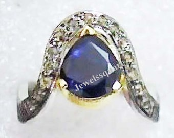 Antique Victorian Look 2.45 Ct Blue Sapphire, Diamond, Gemstone Sterling Silver Beautiful Handmade Ring