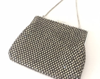 Vintage Rhinestone Mesh Clutch, Evening Bag Old Hollywood, Wedding, Prom, Bride, White and Black, Formal, Sparkly