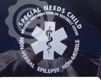 YOU CHOOSE TEXT Special Needs/ Medical Alert Car Window Decal Customized