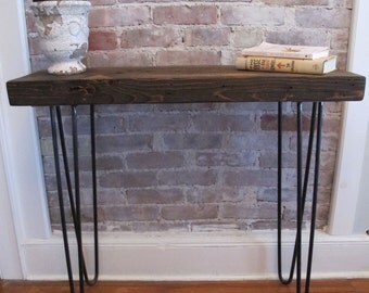 Industrial Modern Console with Hairpin Legs using Reclaimed wood from NYC