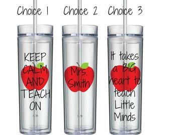 Personalized teacher tumbler, teacher gift, Keep Calm and Teach On, BPA free, 16oz Tumbler, Christmas Gift for Teachers, Teacher Gifts