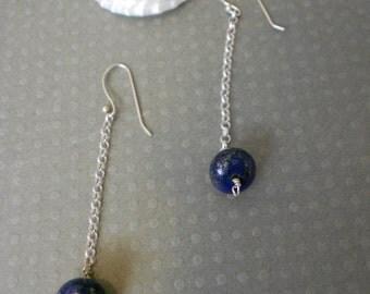 Lapis Lazuli rolo chain dangle earings