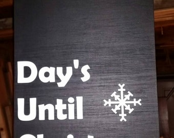 Days until Christmas chalkboard sign with easy to hang rope handle and 2 chalk sticks included