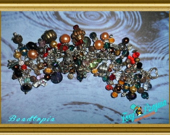 SALE! OOAK Handmade Beaded Dangle Bead work Charm Bracelet Eclectic Chunky