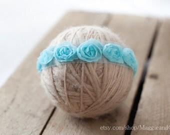 Blue Flowers Newborn Headband, Newborn Headband, Photo Prop, Newborn, Accessory, Flower Headband, Blue Newborn Headband, Polka Dot Headband