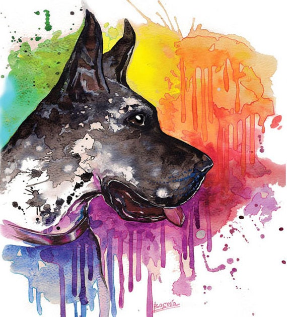 great dane dog watercolor print home decor dog watercolor - Dane Decor