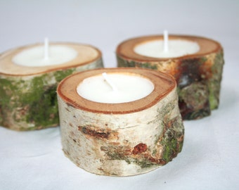 Rustic birch wood tea light holders set of three