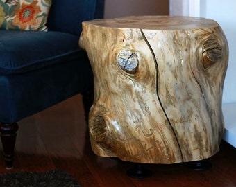 Gold Metallic Rustic Industrial Tree Stump Table