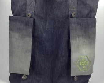 BIG SALE, Black Denim Tote Bag, Customizable Tote Bag With Removable Pockets,  Casual Tote, Denim Bag, Denim Shoulder Bag, School Bag, Purse
