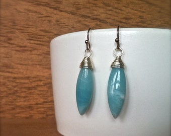 wire wrapped amazonite dangle earrings