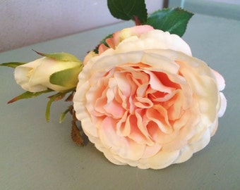 Vintage Peach Artificial Cabbage Roses