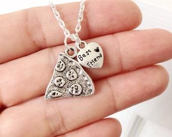 Best Friends Pizza Necklace, Pizza Slice Necklace, Pizza Jewelry, Food Jewelry, BFF Best Friends Jewelry, Fun Gift Idea Under 15 Pizza Lover