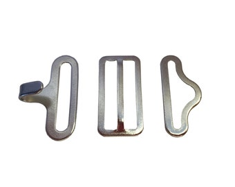 25 Nickel Bow tie Hardware sets (Slide, Hook & Eye)