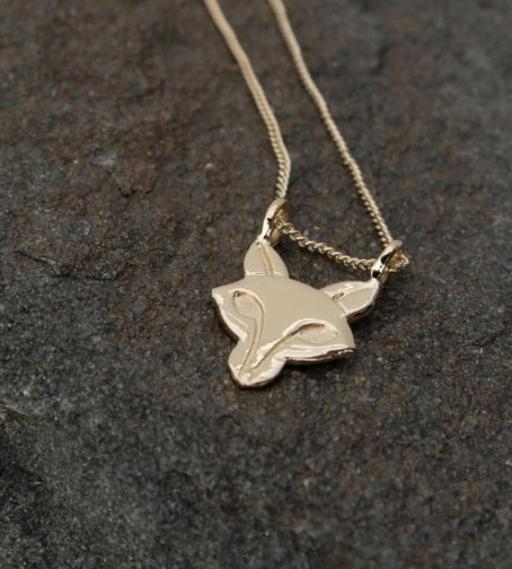 """Recycled Sterling Silver Fox Head Necklace Made in NYC-16"""" Sterling Silver Chain- -Eco Friendly"""