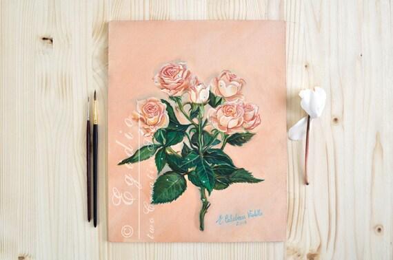 Dipinto ad olio con rose rosa festa della mamma mazzo di fiori for Dipinti ad olio fiori