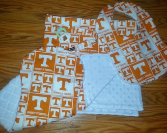 University of Tennessee Baby Gift Set/ Tennessee baby Blanket/ University of Tenn Baby/ University of Tenn Bibs & Burp Clothes