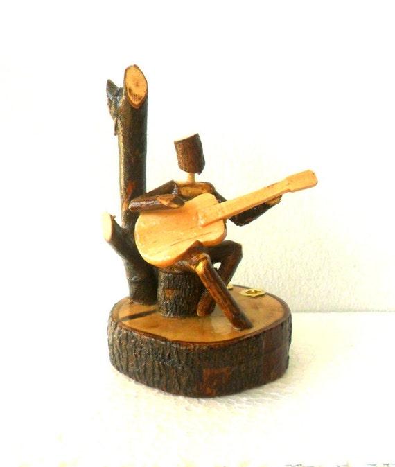 Natural wood carving sculpture guitar player handmade