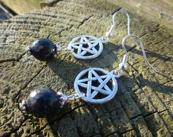 Black Tourmaline Gemstone & Silver Pentacle Pentagram Earrings - Hippy Magic