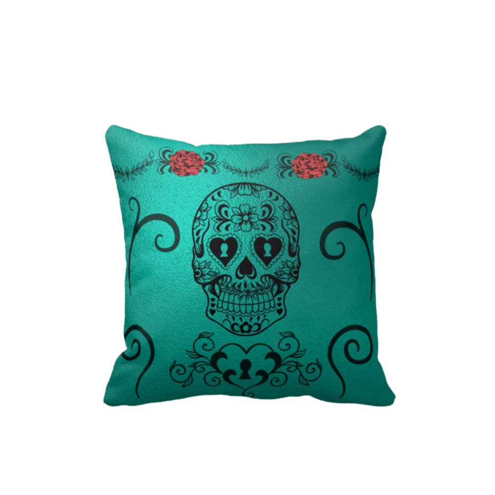 Teal Metallic Sugar Skull Pillow Throw Pillows By Folkandfunky