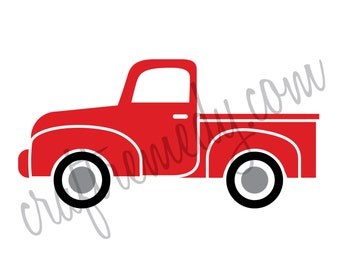 Instant Download Red Vintage Ford Truck Digital Print for Pillow Iron on