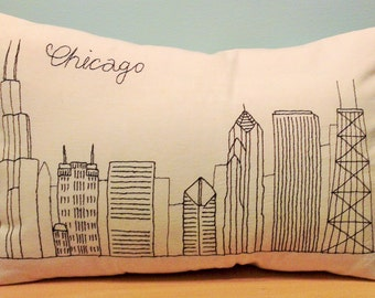 Chicago Skyline Pillow, Freehand Stitching, Embroidered Pillow Cover, Cityscape Throw Pillow, Cushion Cover, Home Decor