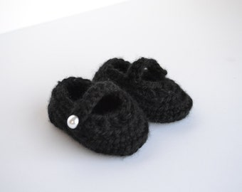 Black Crochet Baby Booties, Baby Shoes, Baby Slippers, Church Shoes,