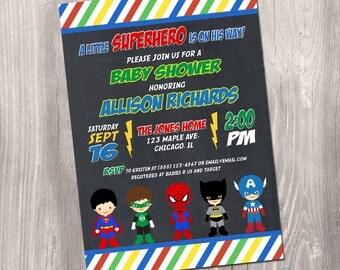 Superhero baby shower invitation, super hero baby shower invitation, superheroes, baby superhero invitation, printable invitation, digital