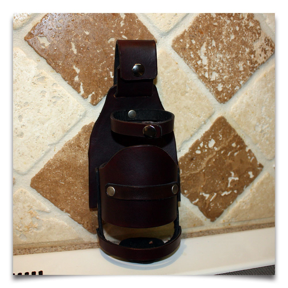 Water Bottle Holster: Handcrafted Leather Beer / Bottle Holster By AlabasterLeather