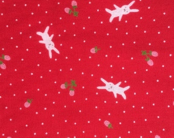 Half Yard- D's Selection DH11989S  Produced By Fumika Oishi- White bunnies/ rabbits and tiny strawberries Red Background-Made in Jpn