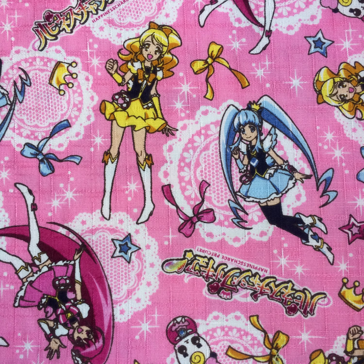 Half yard happiness charge precure anime series fabric 100 Coloring book fabric by the yard
