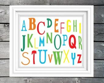 Silly Alphabet Printable Wall Art / Kids Room Decor / Children's Wall Art / Nursery Printable / JPEG / PDF / Playroom Art / ABC's