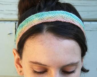 Silk Knit Hand Dyed Zigzag Ombre Rainbow Headband Hairband