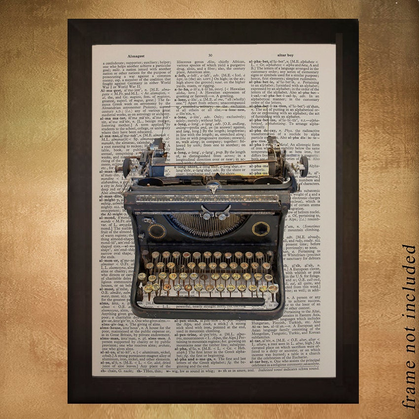 Vintage Typewriter Dictionary Art Print Antique Retro Smith
