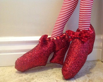 Handmade Halloween witch legs with red glittered shoes