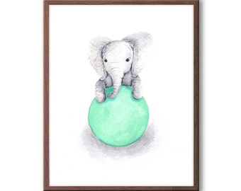 Baby Nursery Decor, Mint and Gray Nursery Art, Aqua and Gray, Elephant Nursery Art, Kids Wall Art, Elephant Wall Art, New Baby Gift, E323N